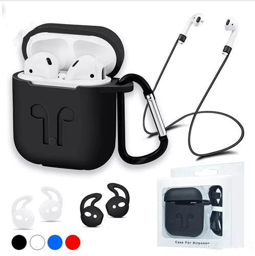 For Apple Airpods Silicone Case Protector Cover Pouch with Anti Lost Rope Dust Plug Hook for Air Pods Bluetooth Headphones Earphones Case