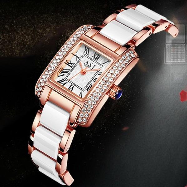 Ladies fashion diamond bracelet watch ceramic strap elegant quartz waterproof watch women classic luxury dress square watch student personal