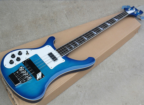 Factory direct sale left-handed blue Ricken electric bass guitar with rosewood fretboard,White binding and pickguard,Free shipping