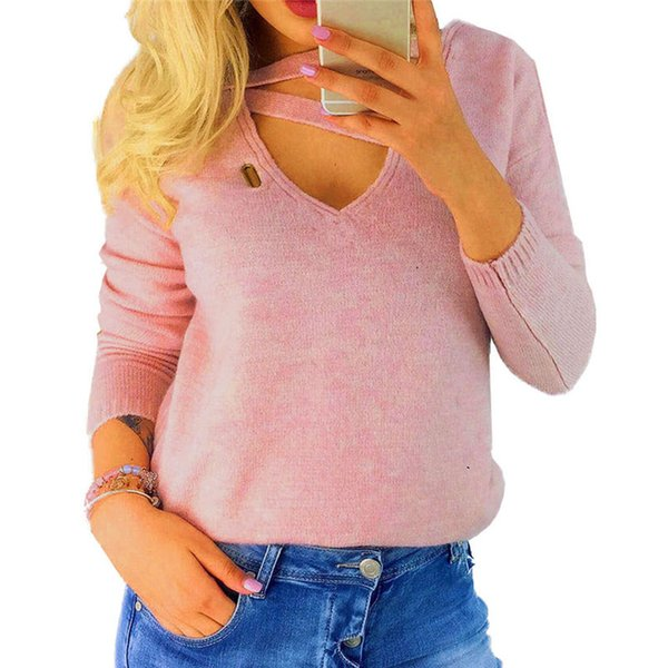 Tunic Winter Shirt Manica lunga Casual Top Fashion V Neck Blusas Donna Shirt 2018 Autunno Sexy Top Solid Hollow Out Tee GV059