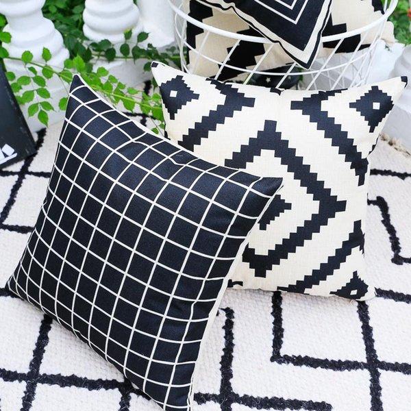 Cuscini Divano Bianco E Nero.Acquista New Multicolor 7 Stili Federa Cotone Canapa Lino
