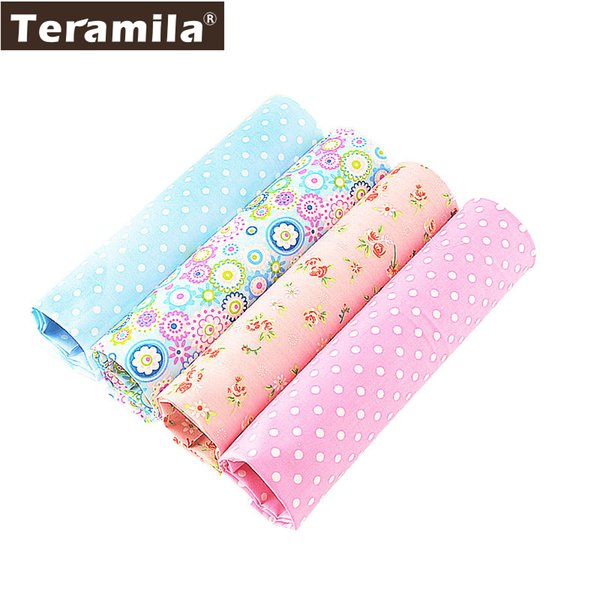 4PCS/lot 40cmx50cm Floral Dots Teramila Cotton Fabric Fat Quarter Bundle Quilting Patchwork Sewing Clothe Bedding Tissus Tilda