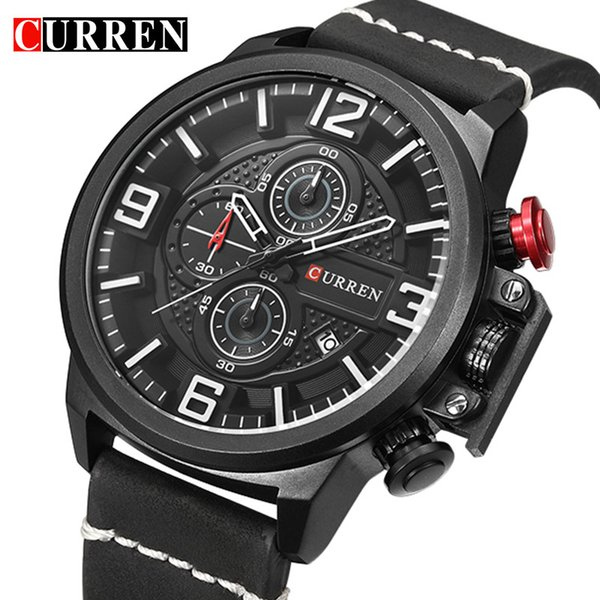wholesale Sport Mens Watches Top Brand Luxury Date Leather Chronograph Waterproof Military Quartz Wrist Watches Relogio Masculino