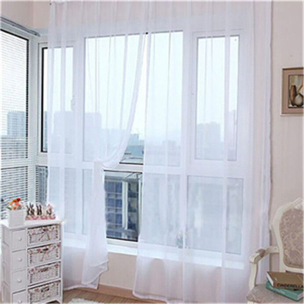 Ouneed Purple Curtain 1 Pcs Pure Color Tulle Door Window Curtain Drape Panel Sheer Scarf Valances *30 Gift 2017 Drop Shipping