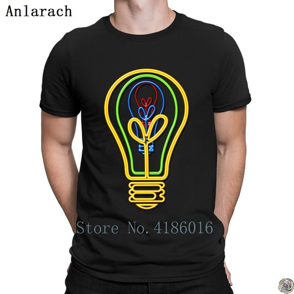 Neon bulb tshirt Great HipHop Tops male summer t shirt for men Crazy O Neck Letter Anlarach Custom