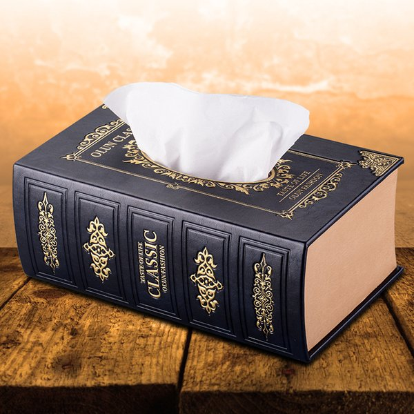 Caja de pañuelos de estilo europeo caja de cuero de coche creativo caja de almacenamiento de libro antiguo artesanías de papel Arte toallitas húmedas caja