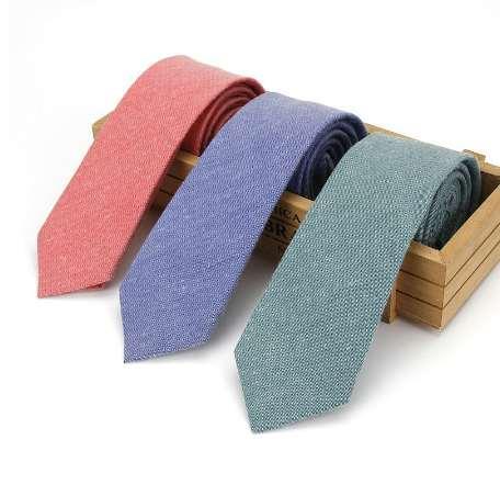 91d59a09359f Fashion High Quality Men's 6CM Business Cotton Slim Skinny Neck Ties Tuxedo Solid  Narrow Necktie Wedding