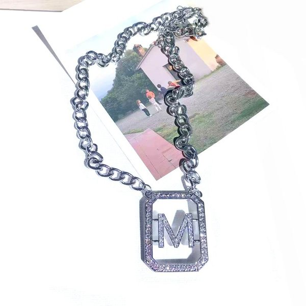 Fashion Personality Exaggerated Big Letter M Zircon Long Necklaces Pendants New Jewelry Thick Chain Collares