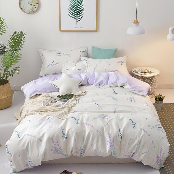 100%Cotton Soft Bed Sheet Set Pillowcase Duvet Cover Twin Queen Size Kids Bedding Set Purple Blue Pink White Girls Bed set