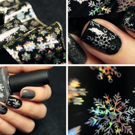 1 Blatt Weihnachten Schneeflocke Muster Nagelfolien Nail Art DIY Transfer Aufkleber
