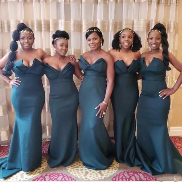 Robes de demoiselle d'honneur africaines Plus la taille Satin sweetheart robes de sirène tenues de soirée pour le mariage balayage Train demoiselle d'honneur robes