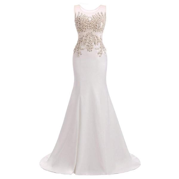 a37bf94eb JaneVini 2018 elegantes vestidos largos de noche blancos con perlas  moldeadas Sheer Scoop Neck Satin Sweep