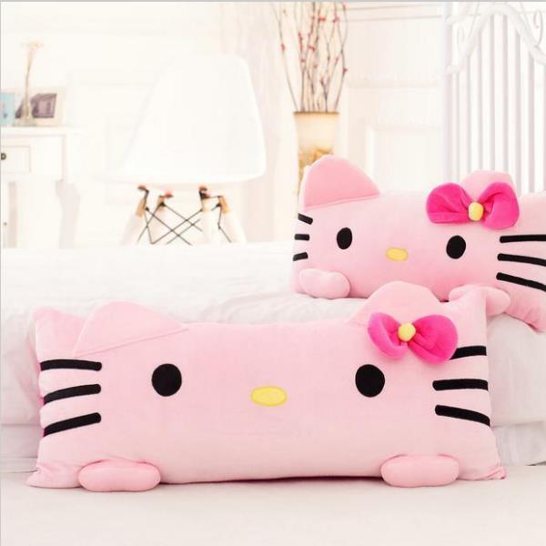 1pc 60cm Super Cute Pink Hello Kitty Cuscino peluche Cuscino con pisolino imbottito morbido regalo per ragazza casa cuscino