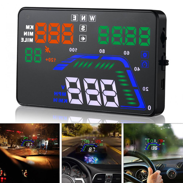 Freeshipping Universal Q7 5.5 Inch Digital Auto Car HUD GPS Head Up Display Speedometers Overspeed Warning Dashboard Windshield Projector