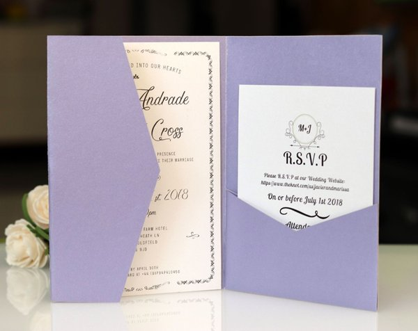 Light Purple Laser Cut Invitations Cards With RSVP White Pearl Paper Invite Card Stock For