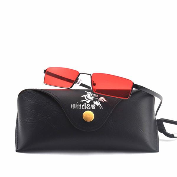 MINCL/ малый квадрат солнцезащитные очки мужчины старинные металлический каркас 2018 черный желтый красный объектив небольшой солнцезащитные очки для женщин панк-sunglas FML