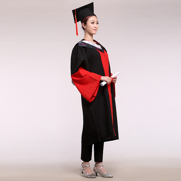 Graduation ceremony Student Uniform Doctor Engineer service dress gown fabric bachelor of clothes hat master service Doctoral Academic Gown