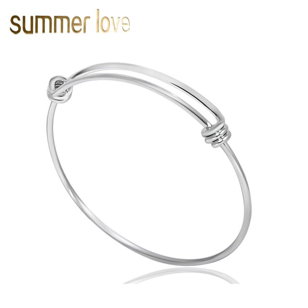 High Quality Stainless Steel Expandable Wire Bangle Bracelet For Women Jewelry Findings 2018 New Fashion DIY Silver Charm Bracelet Wholesale