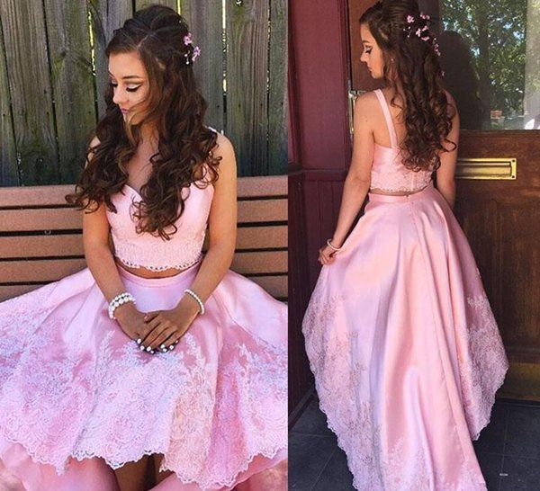 Sweet Pink Lace Prom Dresses Two Pieces Hi Lo Party Gowns Sweetheart Neck Satin Skirt Baby Pink Girls Party Gowns
