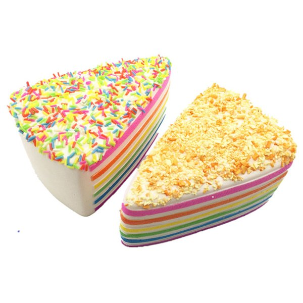 Fashion Cake Shaped Squishy Toys Simulation Cakes 14*9*7 cm For Bakery Decoration Multi-color Triangle Squishy Cake Free Shipping