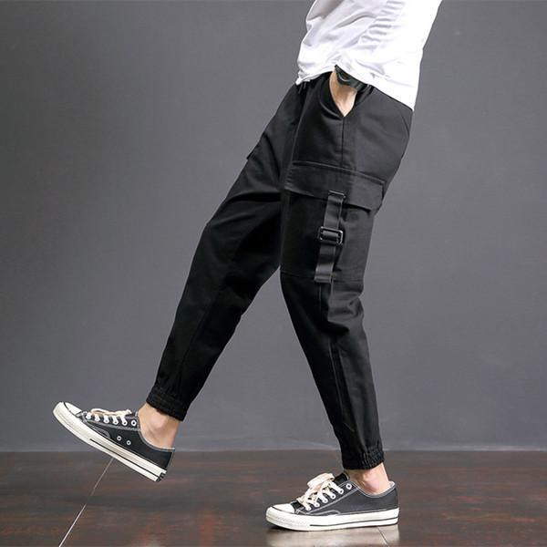 2018 Spring Harem Pants Hombres Multi Pocket Hip Hop Mens Joggers Tallas grandes Pantalones Cargo Casual Loose Men's Pantalones 5XL-M Negro Oferta