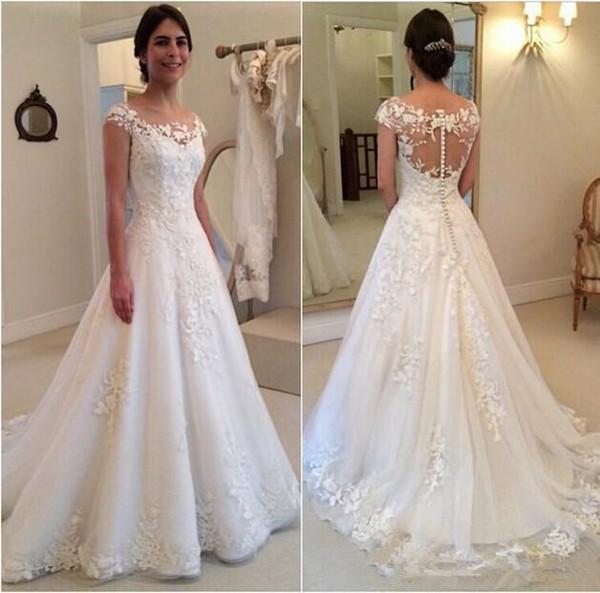 Cap Sleeve Lace Floral Wedding Dresses 2018 Modest Sheer Back 3D Detail Jewel Full length Church Garden Civil Bridal Gown