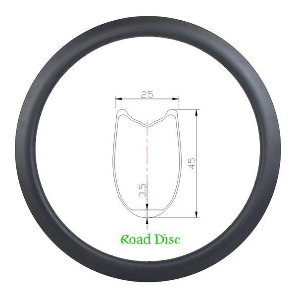 45mm 700c tubular road disc carbon rim U shape 25mm wide 20 24 28 32 36 spoke Holes UD 3K 12K matte glossy disk brake NO braking track
