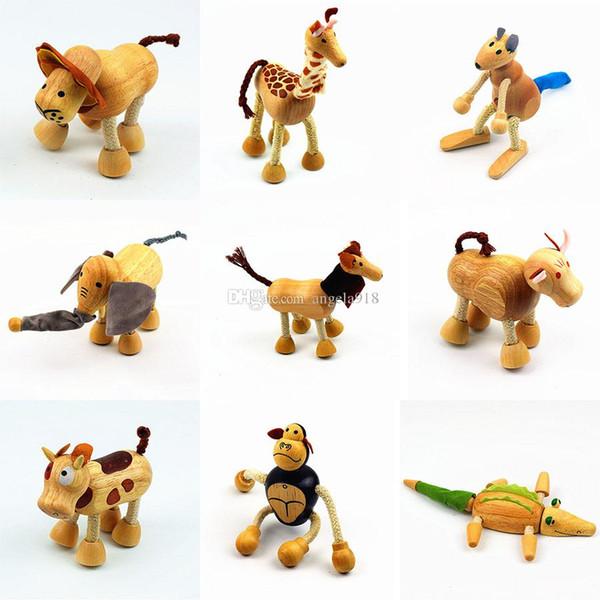 Animal figurines jouets de bande dessinée en bois modèle animal Dollls enfants jouets éducatifs C4675