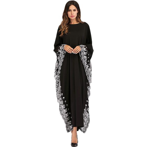 Acheter 187020 Euramerica Style Robes Musulmanes Pour Femmes Manches Chauve Souris Brodée Robe Vente Chaude Mousseline Robe Grande Taille Femmes