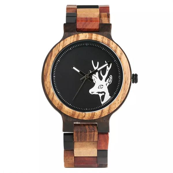 Stilvolle handgemachte hölzerne Uhr für Frauen-Männer handgemachte Bambusarmbanduhr natürlicher Rotwild-Kopf-Tätowierung-Quarz-Uhren erkek saati