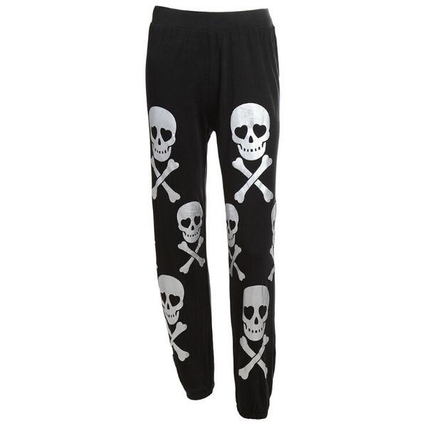 Women Black Full Length Pant Skull Print Ladies High Waist Trousers Running Athletic Jogger Pants