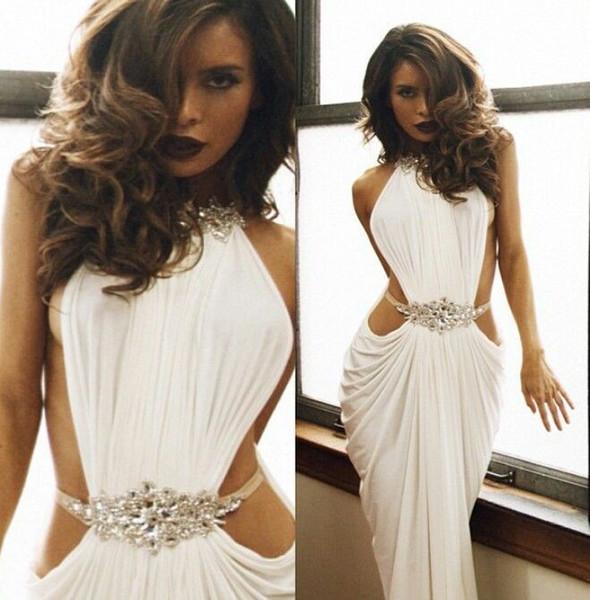 moroccan kaftan Fashionable Sheath Jewel Necklines Backless Draped Waist Beaded Sexy long evening gowns Evening Dresses 2018