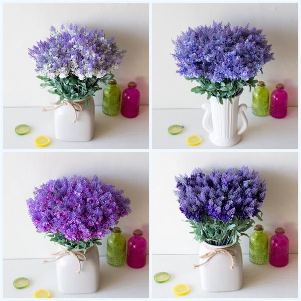 Wedding Decoration Artificial Fake Flower Lavender Bush Bouquet Silk Simulation Flowers Plastic Party Supplies With Multi Color 1 45yx jj