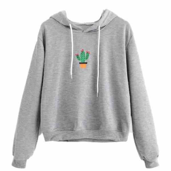 2018 Feitong Women Hoodies Cactus Printed Sweatshirt Cotton Harajuku Hoodie Kawaii Pullover Women Sweatshirt Sudaderas Mujer 2017 From Huaijing,