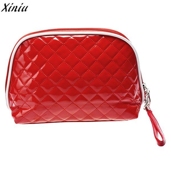 Cosmetic Bag Solid Color Leather Makeup Bag Cute Dumplings Travel Organizer Cosmetic Neceser Maquillaje #7626