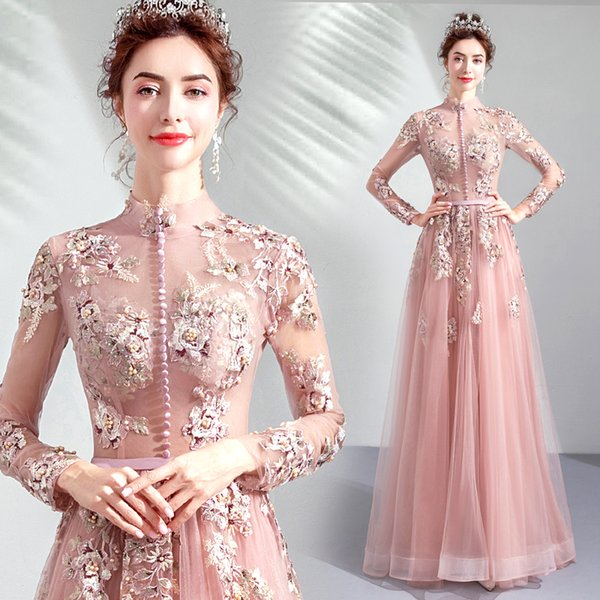 3D Floral Appliques Sexy 2018 Evening Dresses High Neck Long Sleeves Pearls Prom Dresses Cheap Stunning Pageant Formal Party Gowns