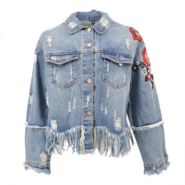 2018 Flower Embroidery Denim Jacket Coat Women Vintage Autumn Tassels Basic Jackets 2018 Casual Ripped Jean Jacket Outerwear