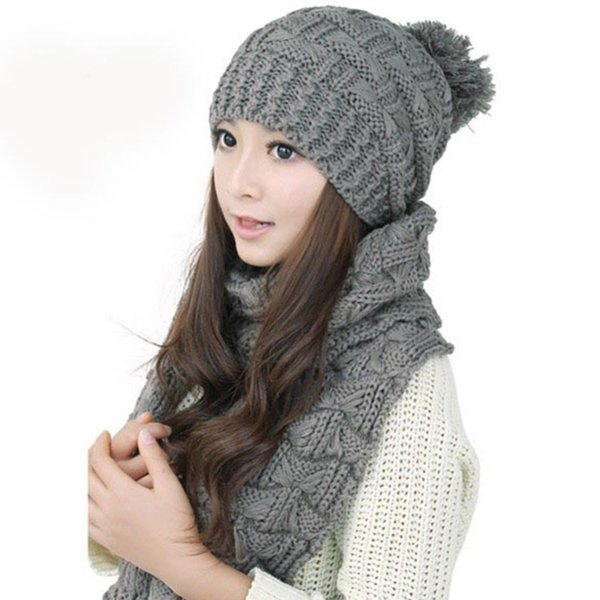 Women's Girls Winter Wool Knitted Scarf and Hat Set Warm Crochet Thicken Skullies & Beanies and Scarves