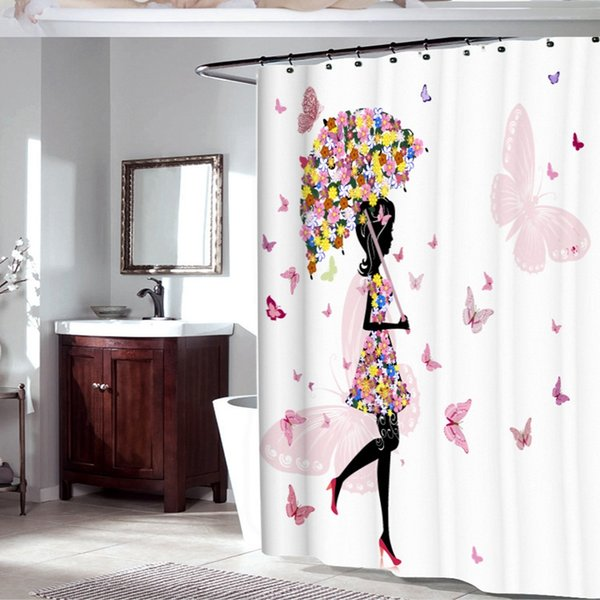 Stoff-Polyester-Rosa-Schmetterlings-Mädchen mit Blumenkleid-Blumen-Fee Engels-Flügel-Duschvorhang-Schwarz-weißer weiblicher Bad-Vorhang