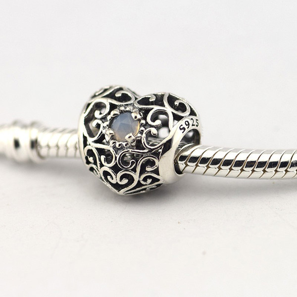 5pcs/lot June birthstone charms economici 925 sterling silver fits pandora style bracelets JUNE SIGNATURE HEART, GREY MOONSTONE 791