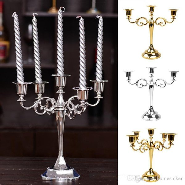 27cm metal candle holders Silver Gold Black Bronze 5 arms candlestick holder stand wedding event candelabra candle holders