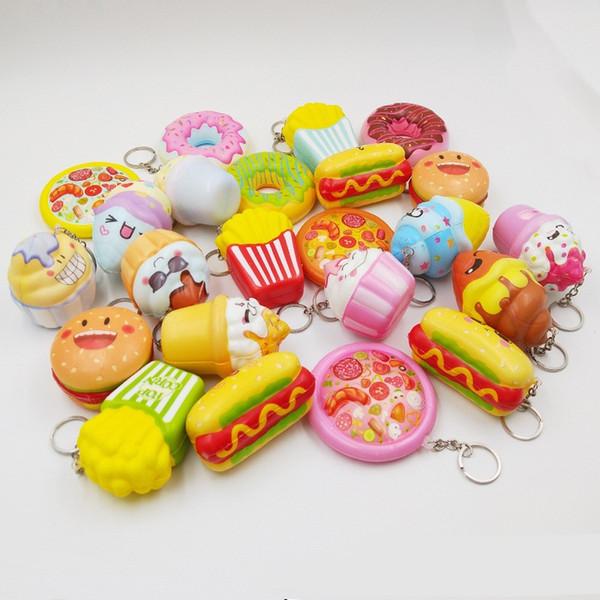 MIX Soft Hamburger Hot Dog Donuts Squishy Spielzeug Slow Rising für Kinder Erwachsene Lindert Stress Angst Dekoration Spielzeug für Kinder Geschenk