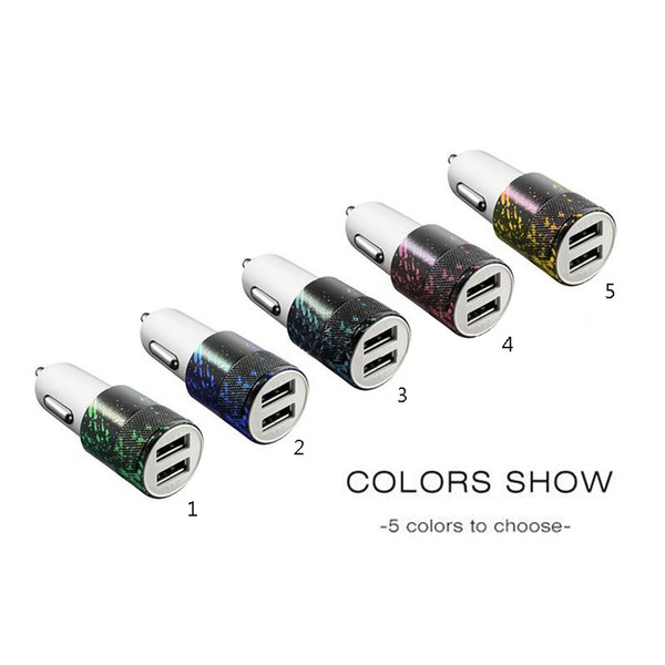 Colored drawing Car Charger 3.1A Dual USB Port Car Chargers Portable Travel Charger Rapid Auto Adapter for iPhone X 8 7 6 plus iPad Samsung