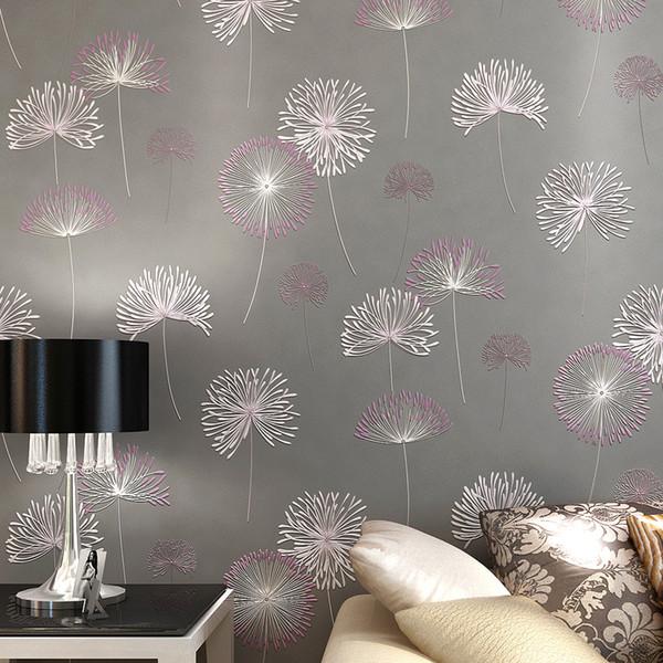 Wholesale-10M Hot selling wallpaper for walls 3 d Vintage Classic Modern Dandelion flowers Wallpapers Roll papel de parede Wallpaper Rolls