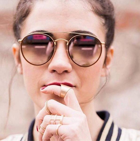 Yüksek Kalite Yuvarlak Stil Erkekler için Güneş Gözlüğü Alaşım PU çerçeve Aynalı cam lens kadın çift Köprü Retro Gözlük ile paket 3647