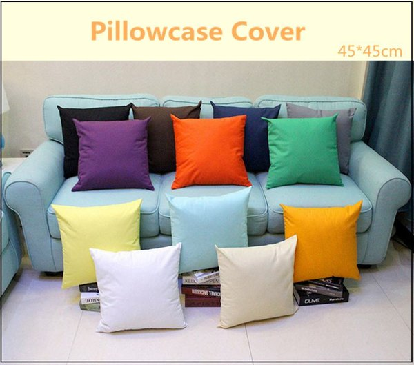 best selling Candy Color Pillowcase 45*45cm Pure Color Pillow Cushion Covers Polyester Pillow Case Cover Plain Throw Pillowcase Covers Sofa Decorative
