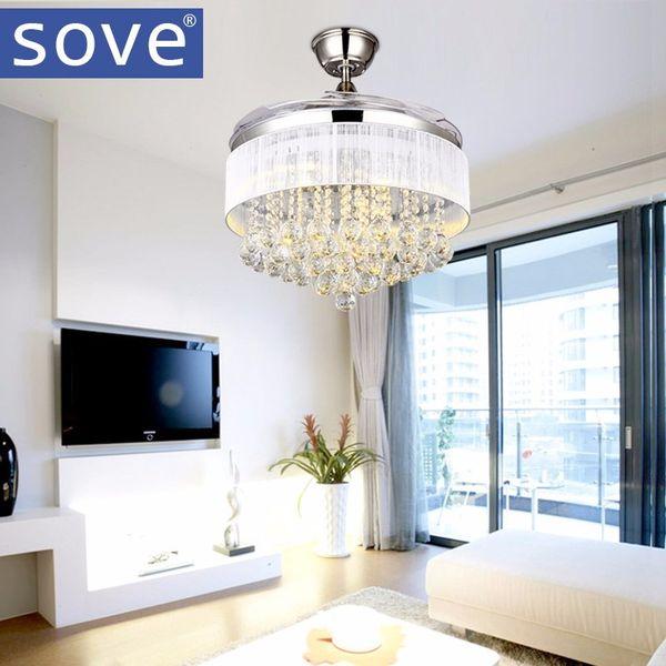 SOVE LED Modern Crystal Ceiling Fans With Lights Folding Ceiling Fan Remote Control Light Fan Lamp Ventilador De Techo