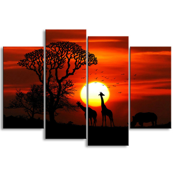 4 pieces high-definition print African landscape canvas oil painting poster and wall art living room picture FZ4-004