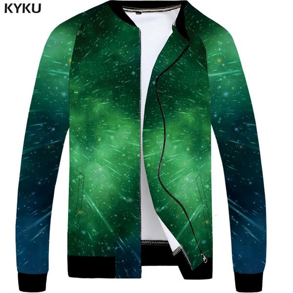 98e0ba0a5 KYKU Galaxy Jacket Men Space Bomber Coat Anime Clothes Rain Green Funny 3d  Printed Jackets Hip Hop Mens Clothing Large Size New Coats And Jackets Men  ...