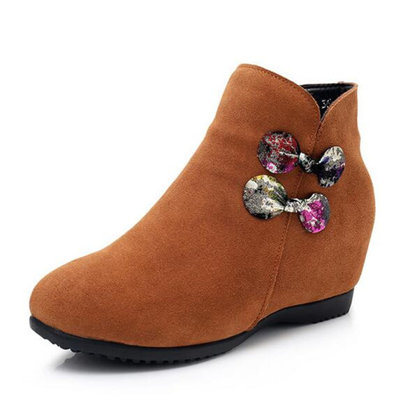 New fashion Bow Matte cowhide Leather Shoes Women Shoes Boots 2018 Large Size Increased Autumn and Winter Boots ankle boots